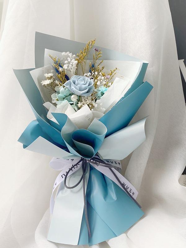 柔美系永生小花束-霧灰藍