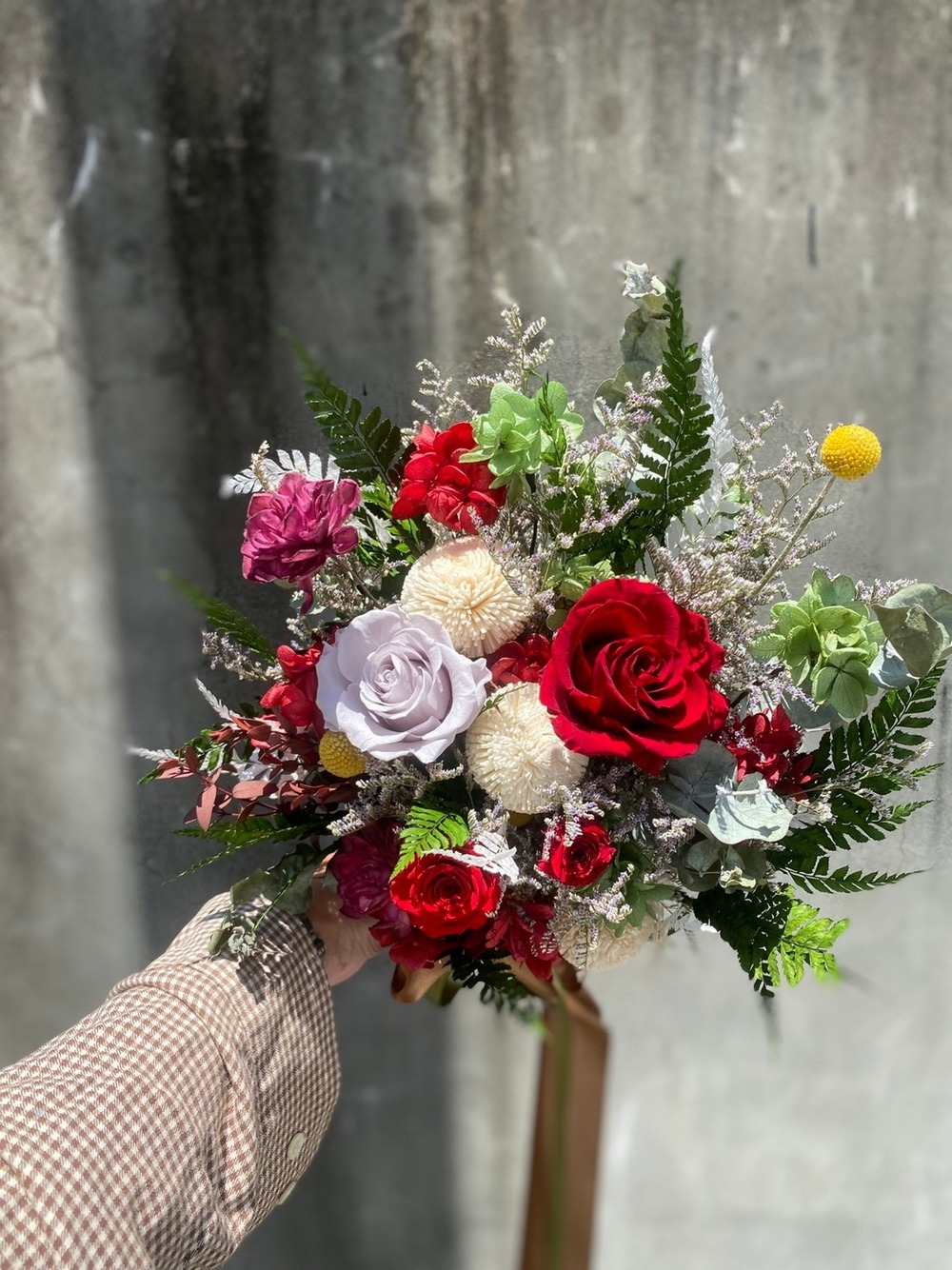 經典花束型捧花-紅綠色
