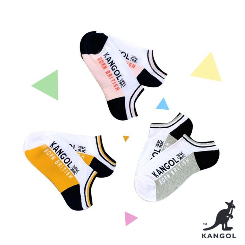 KANGOL側邊LOGO潮流襪子 適用22-26cm 黃/粉/灰 3色下單區